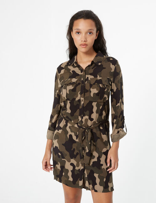 camoflage shirt dress