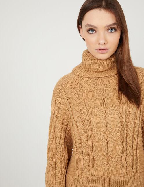 Beige braided knit polo neck jumper