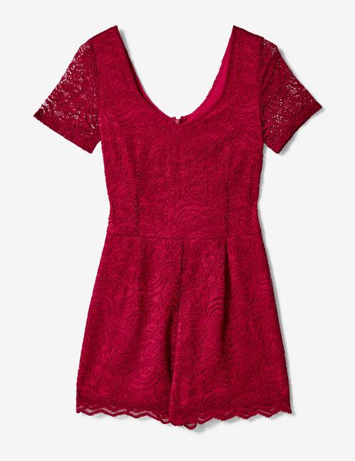 Burgundy lace playsuit