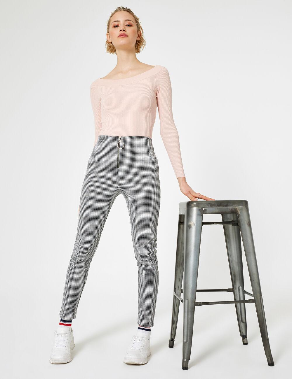 14b510633a946 Pantalon vichy zippé noir et blanc femme • Jennyfer