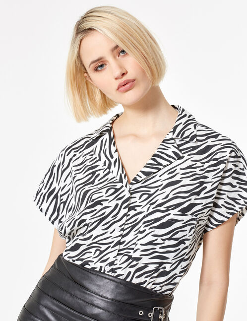 White and black zebra print blouse