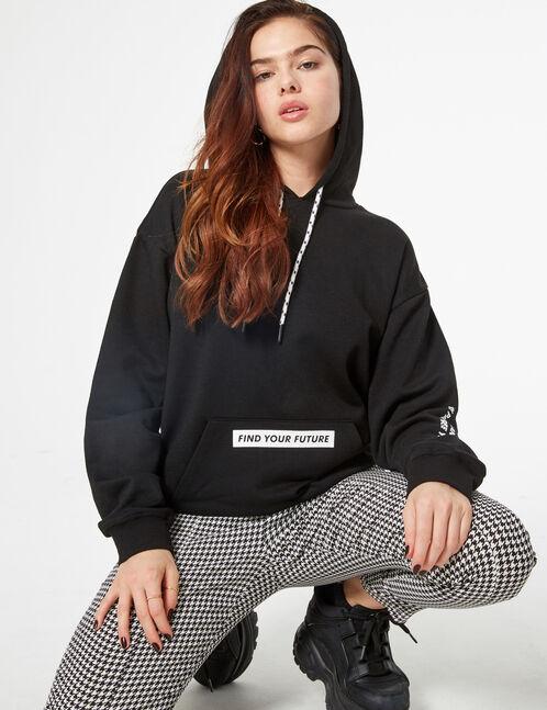 Print sweatshirt with hood