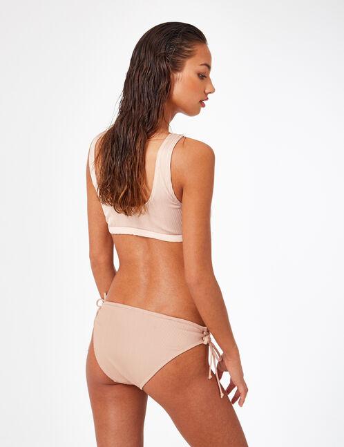 Nude ribbed bikini top