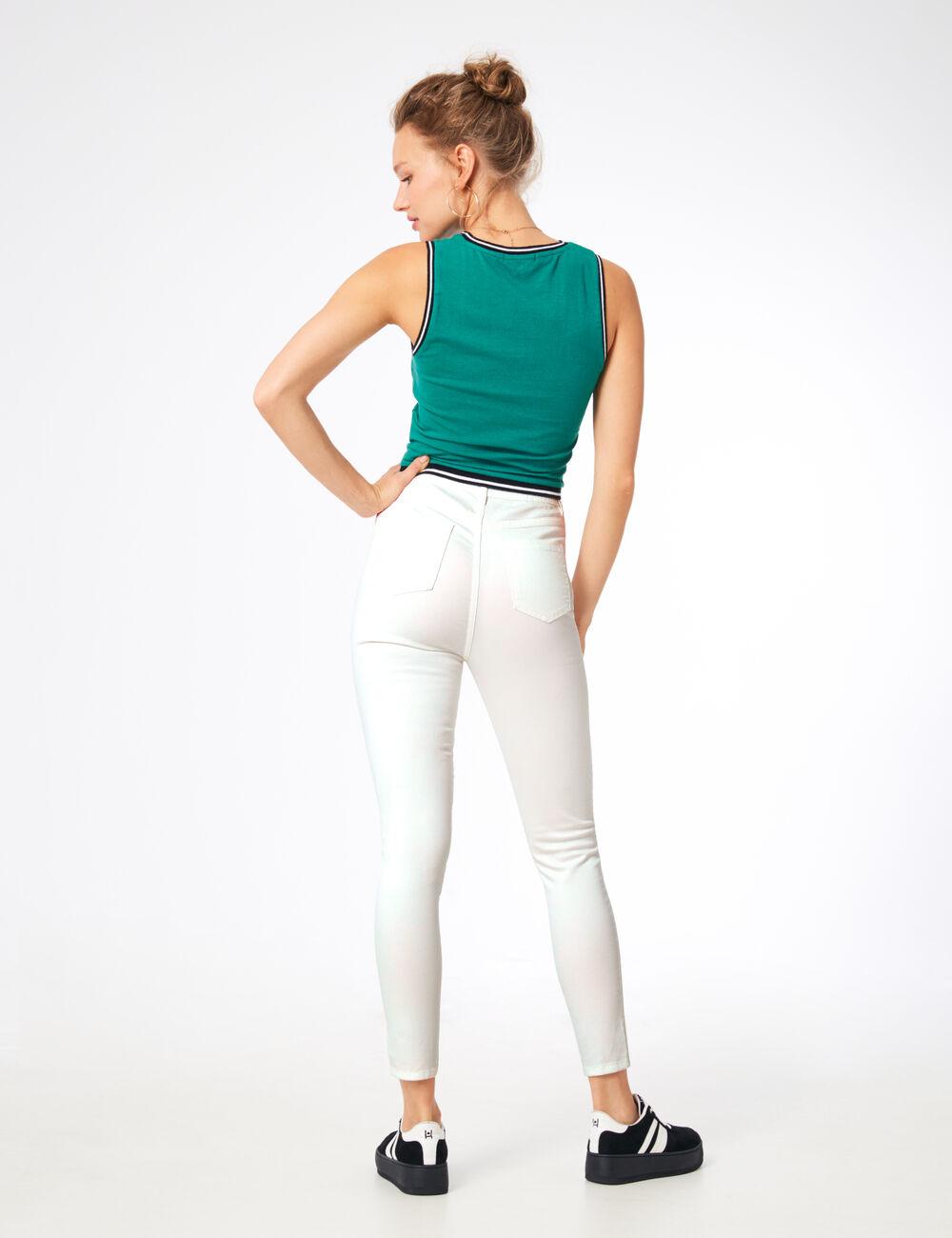 pantalon skinny taille haute blanc femme jennyfer. Black Bedroom Furniture Sets. Home Design Ideas