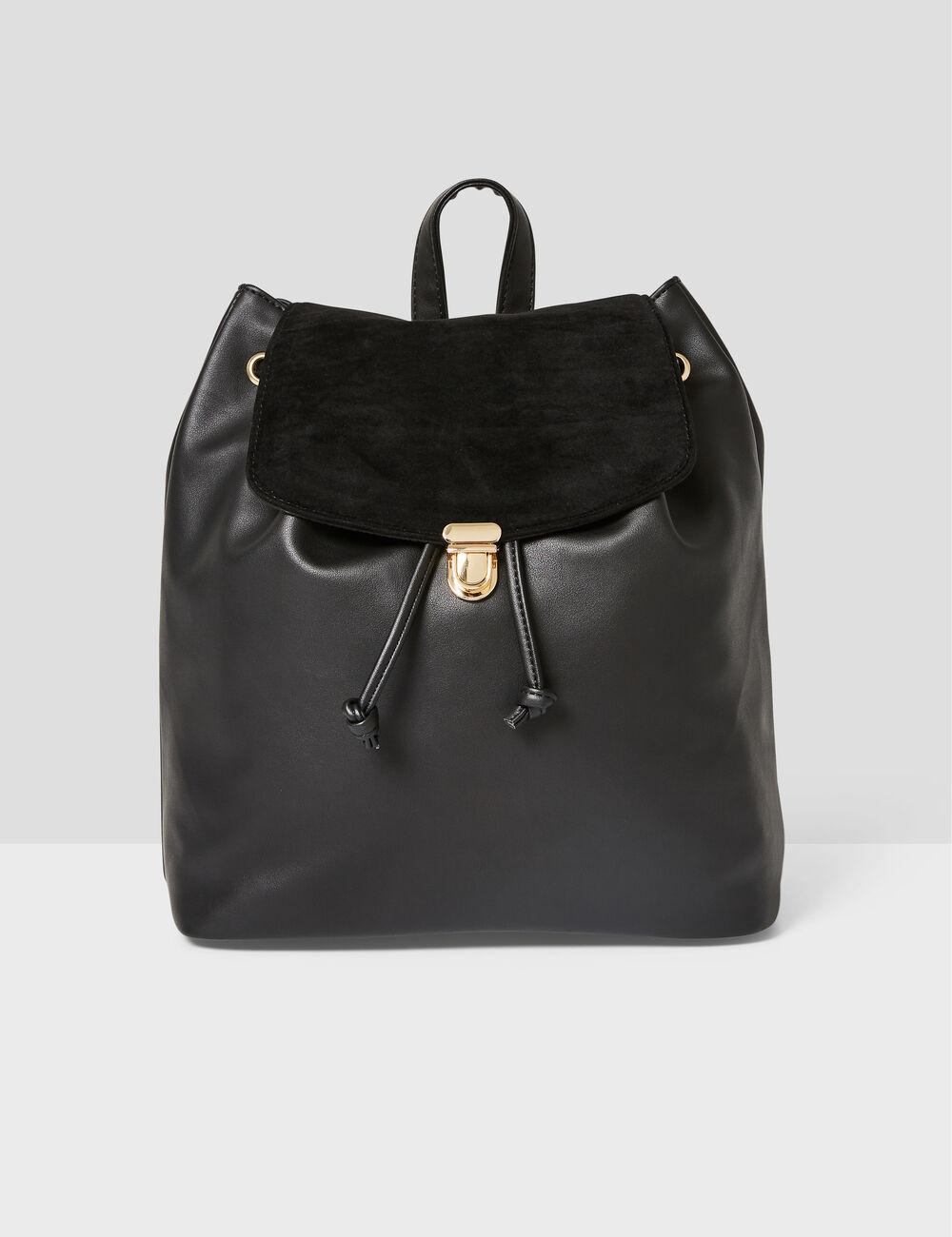 Black mixed fabric backpack woman • Jennyfer 9ab527b9d79