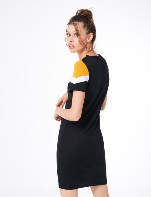 Black, white and ochre tricolour dress