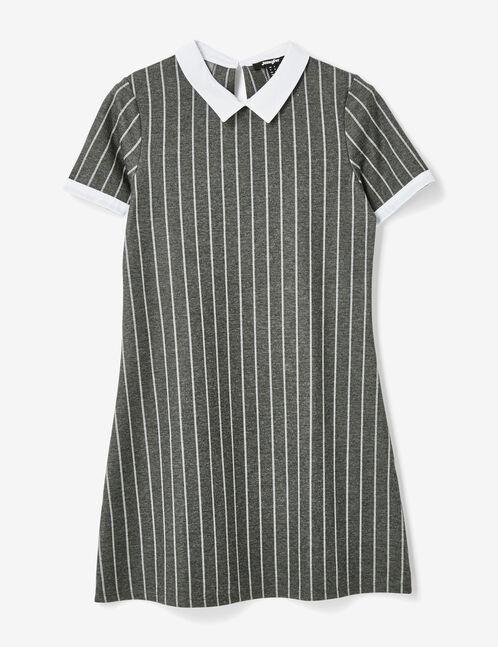 robe rayée avec col blanc grise