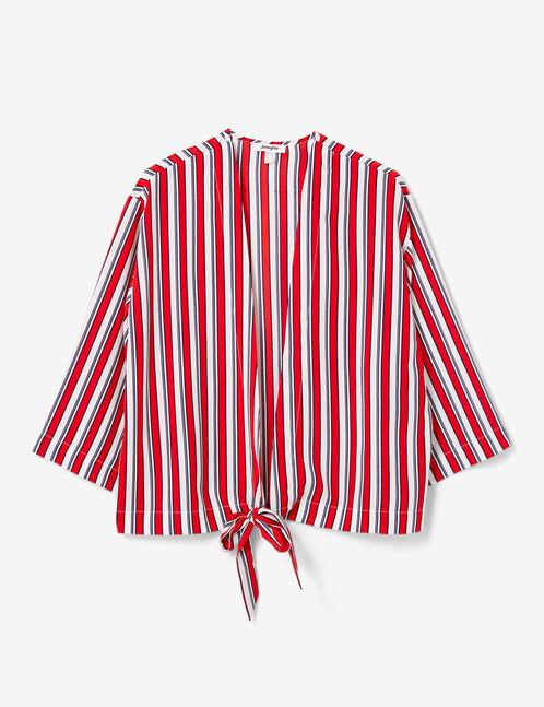 kimono rayé à nouer écru, bleu marine et rouge