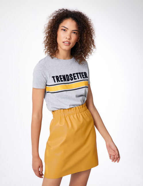 Ochre faux leather skirt with ruched detail