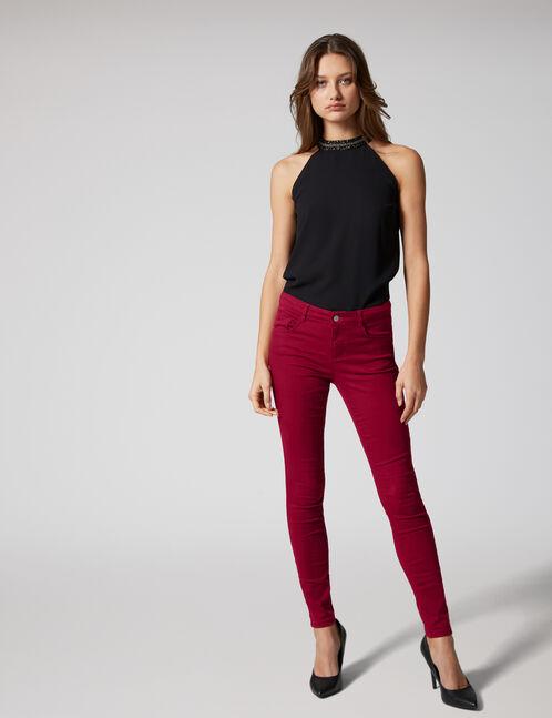 Burgundy skinny push-up trousers