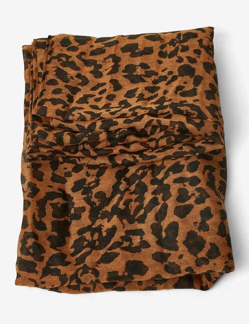 Camel and black leopard print snood