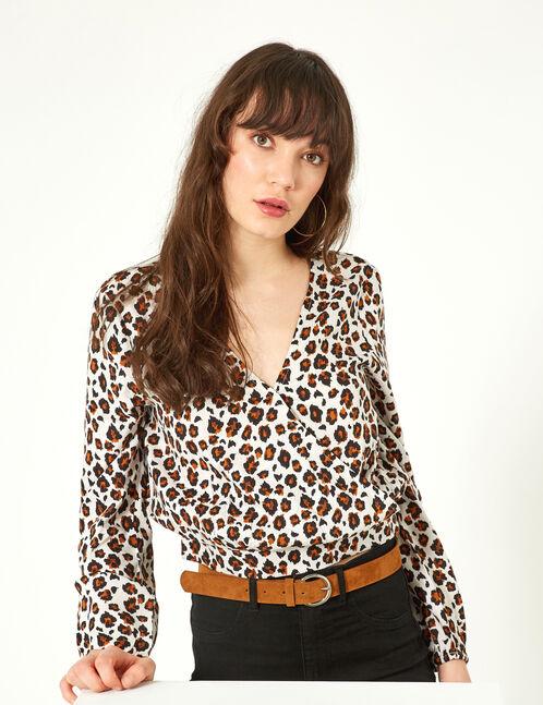 Beige leopard print wrap blouse