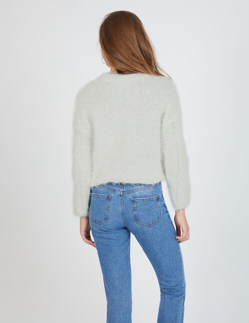 Cream braided-knit mohair jumper