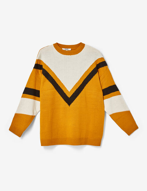 Long ochre, black and cream jumper with chevron detail