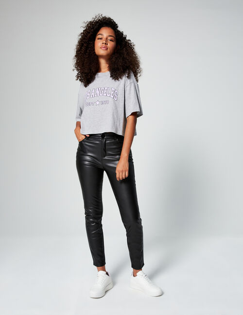 Imitation leather skinny trousers