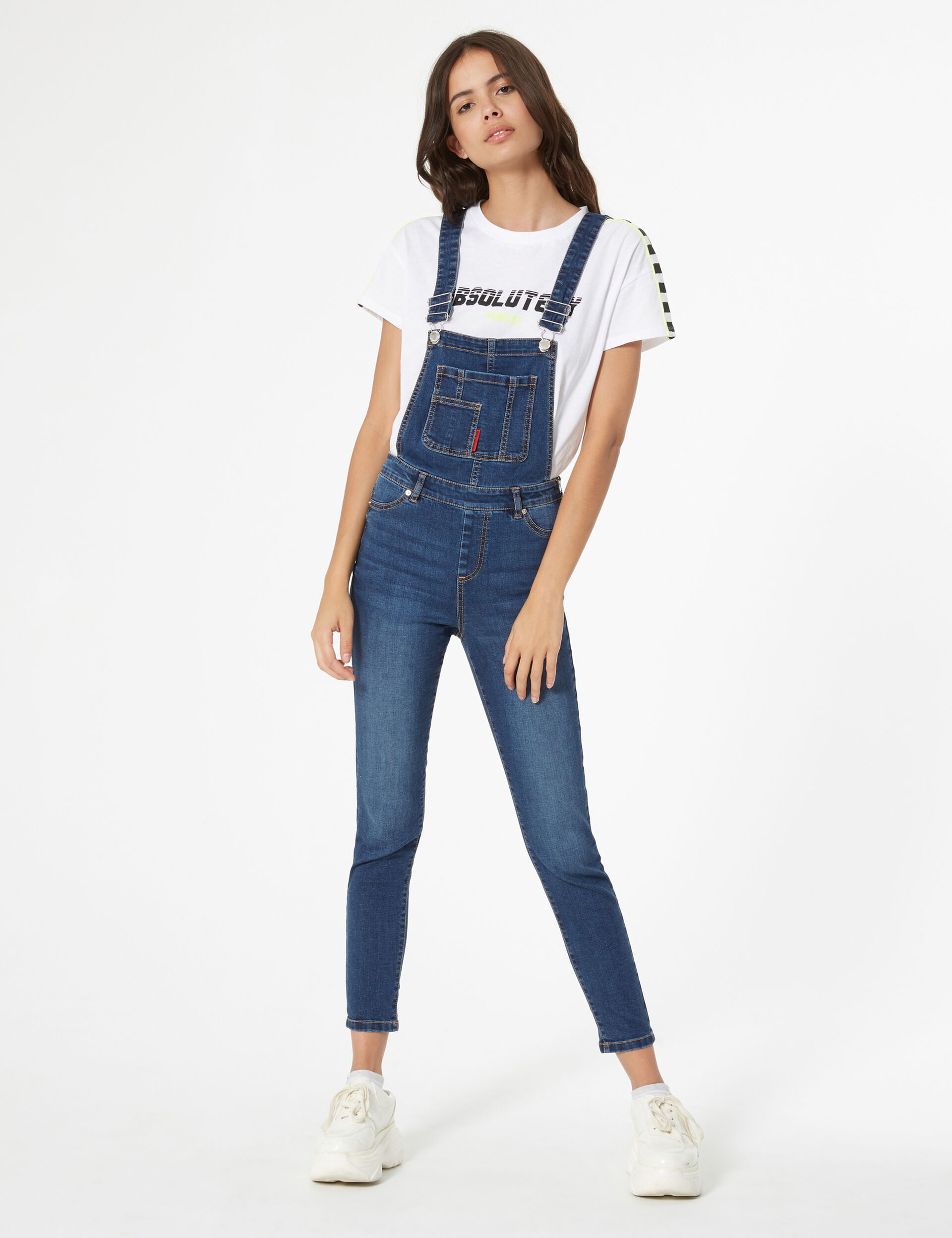 Slim denim overalls
