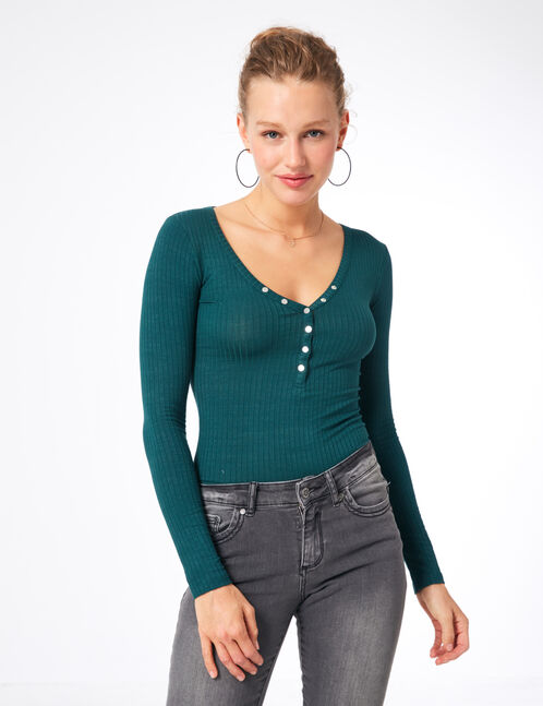 Green bodysuit with press stud detail