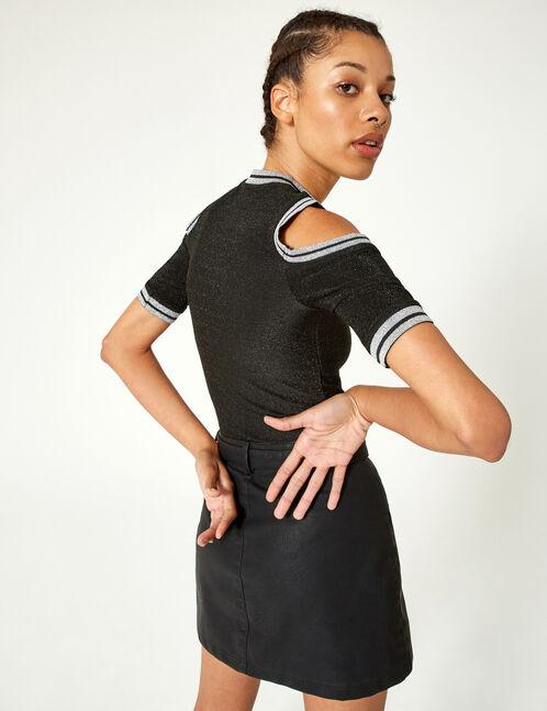 jupe boutonnée avec ceinture noire