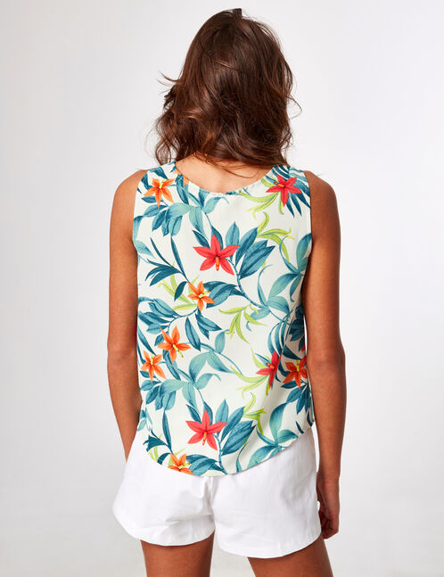 Cream tropical blouse with lacing detail