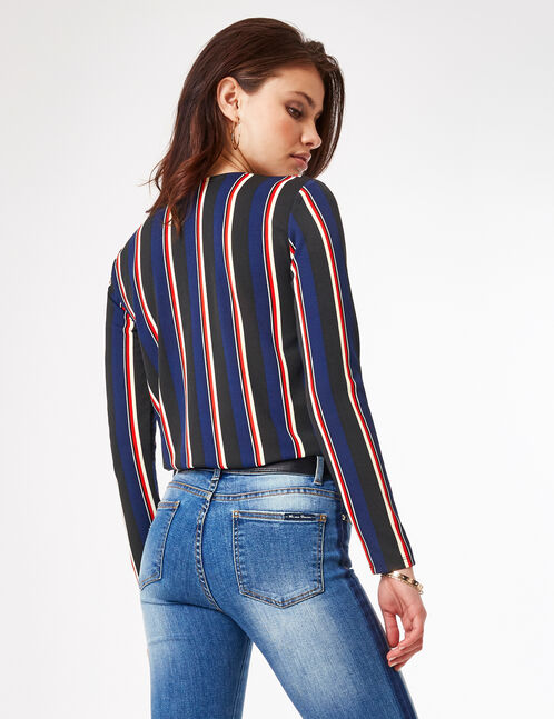 Black, navy blue, red and white striped crossover bodysuit