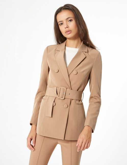 long blazer with belt