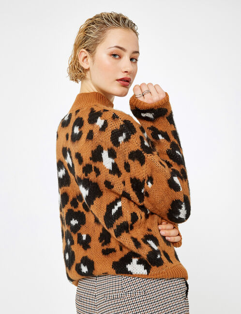 pull léopard camel et noir