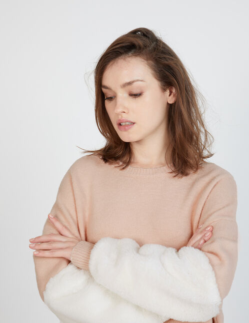 pull avec imitation fourrure rose clair