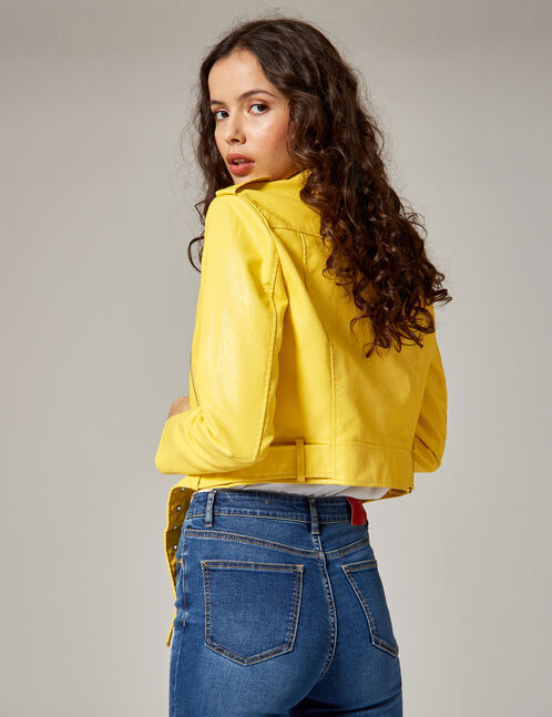 veste biker jaune clair