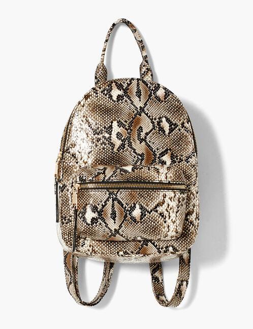 sac à dos python beige et noir