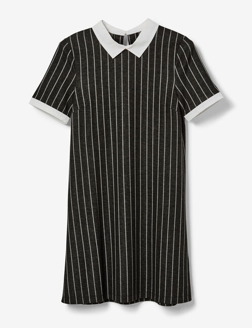 robe avec col blanc grise et blanche