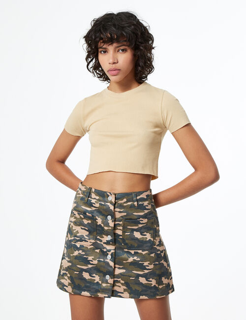 Jupe trapèze boutonnée camouflage