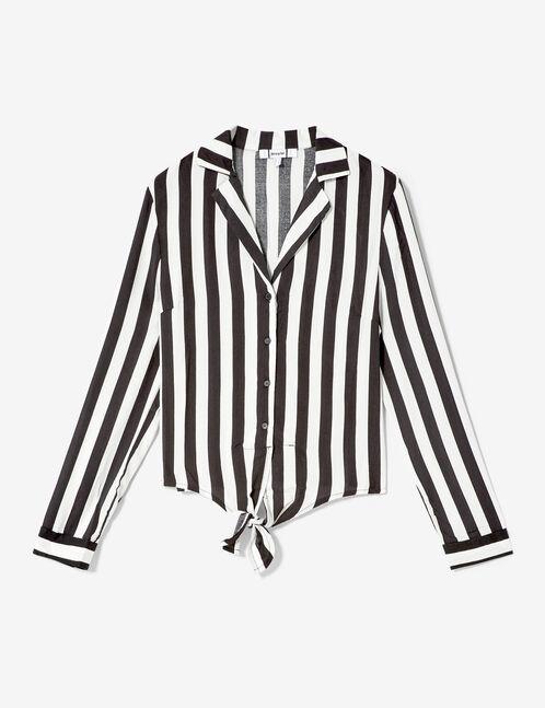 chemise rayée à nouer noire et blanche