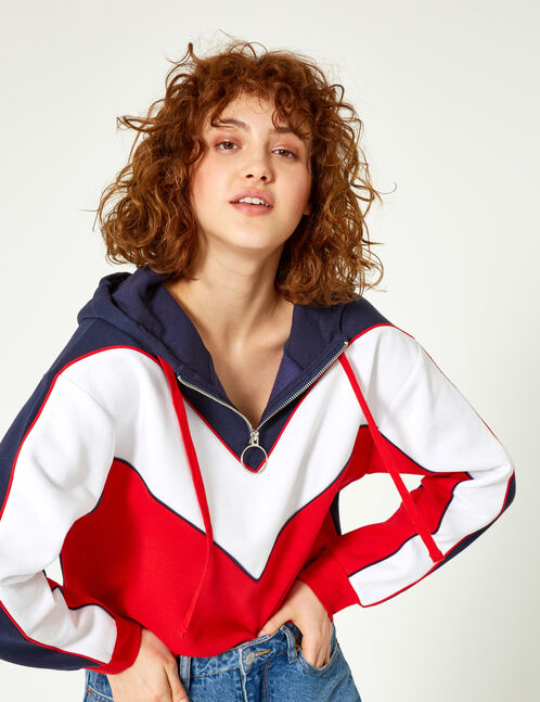 Navy blue, white and red hoodie with chevron detail