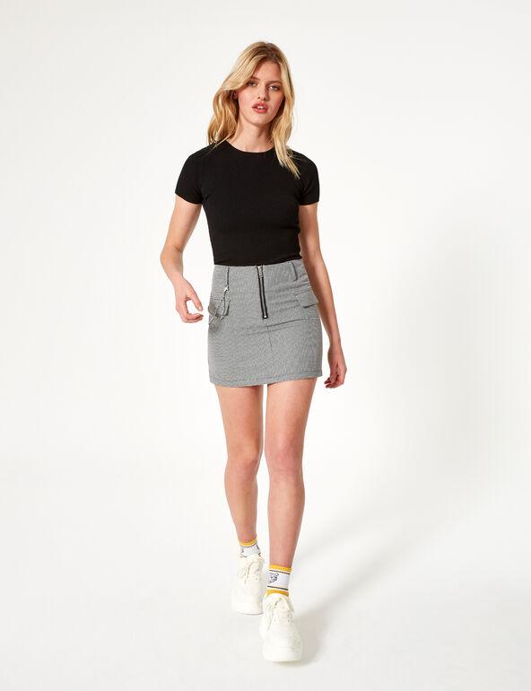 Mini jupe pied-de-poule noire et blanche