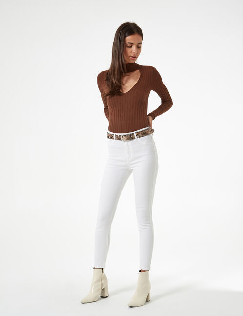 high waist white jeggings