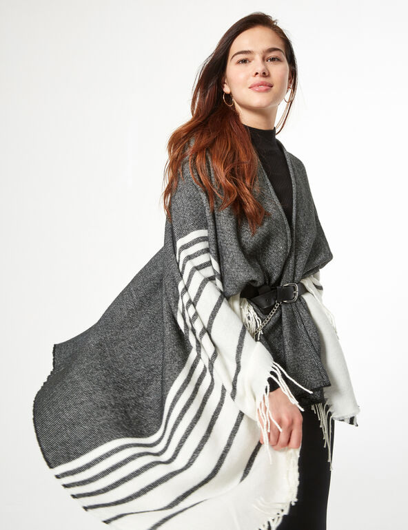 Fringed striped cape