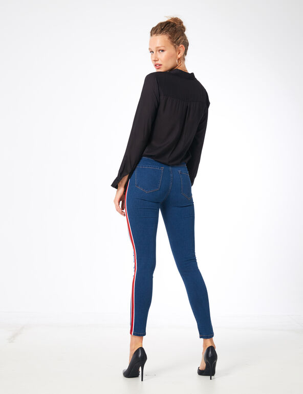 Jegging avec bandes medium blue