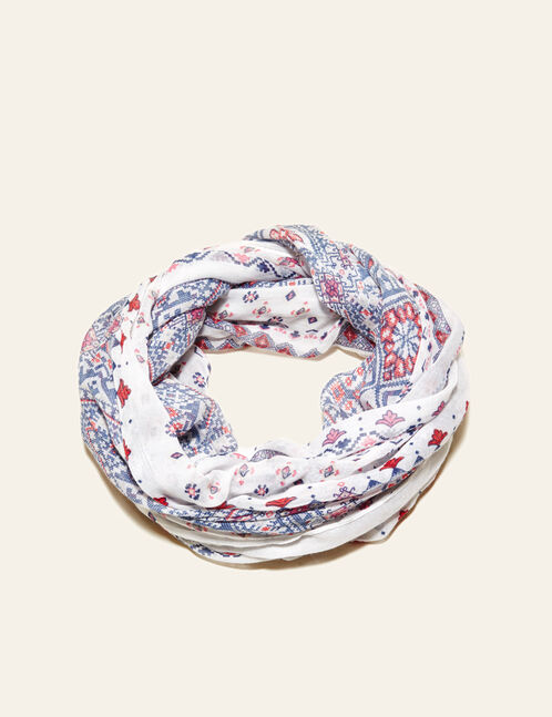 Cream, pink and navy blue floral print snood