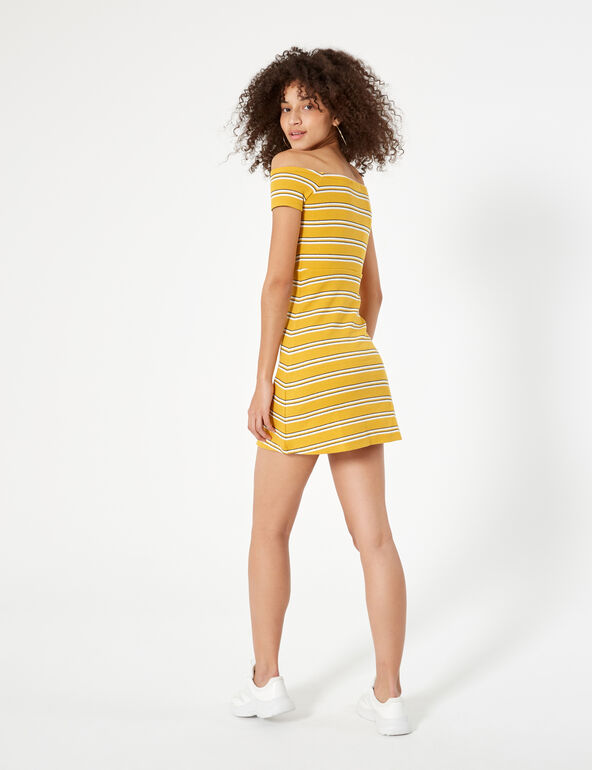 Yellow, black and white striped dress