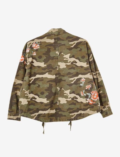 Khaki embroidered camouflage jacket