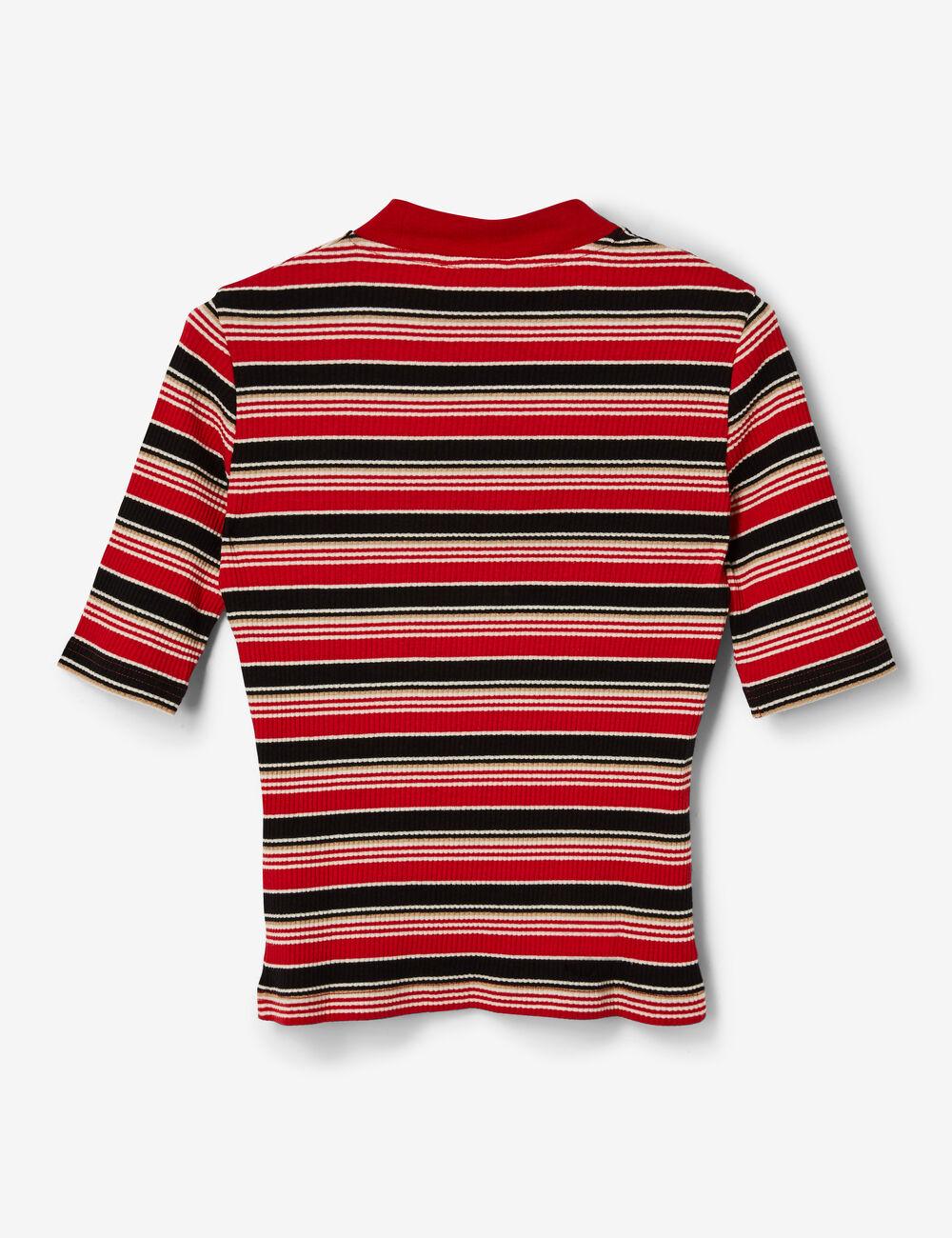tee shirt c tel ray rouge noir blanc et beige femme. Black Bedroom Furniture Sets. Home Design Ideas