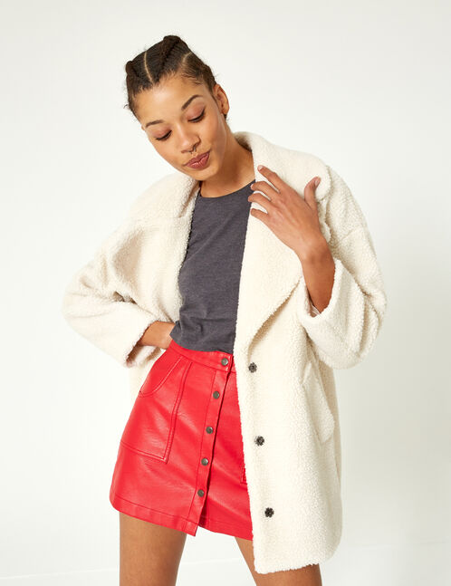 jupe boutonnée rouge