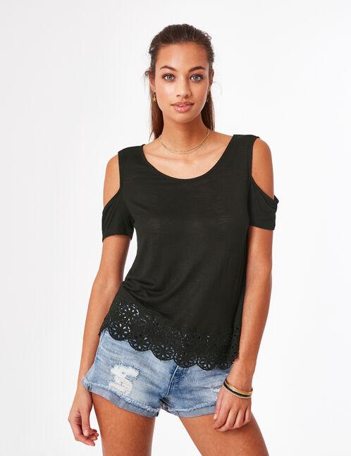 tee-shirt épaules ajourées noir