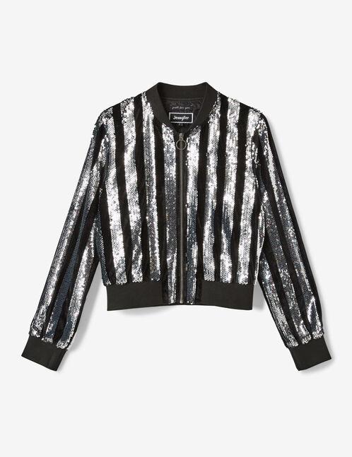 veste à sequins noir et argenté