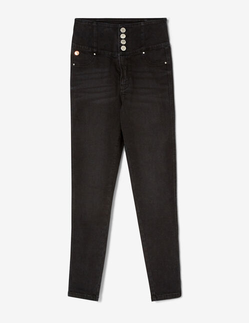 Black super high-waisted jeans