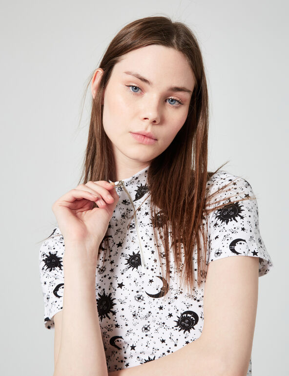 Zipped printed dress