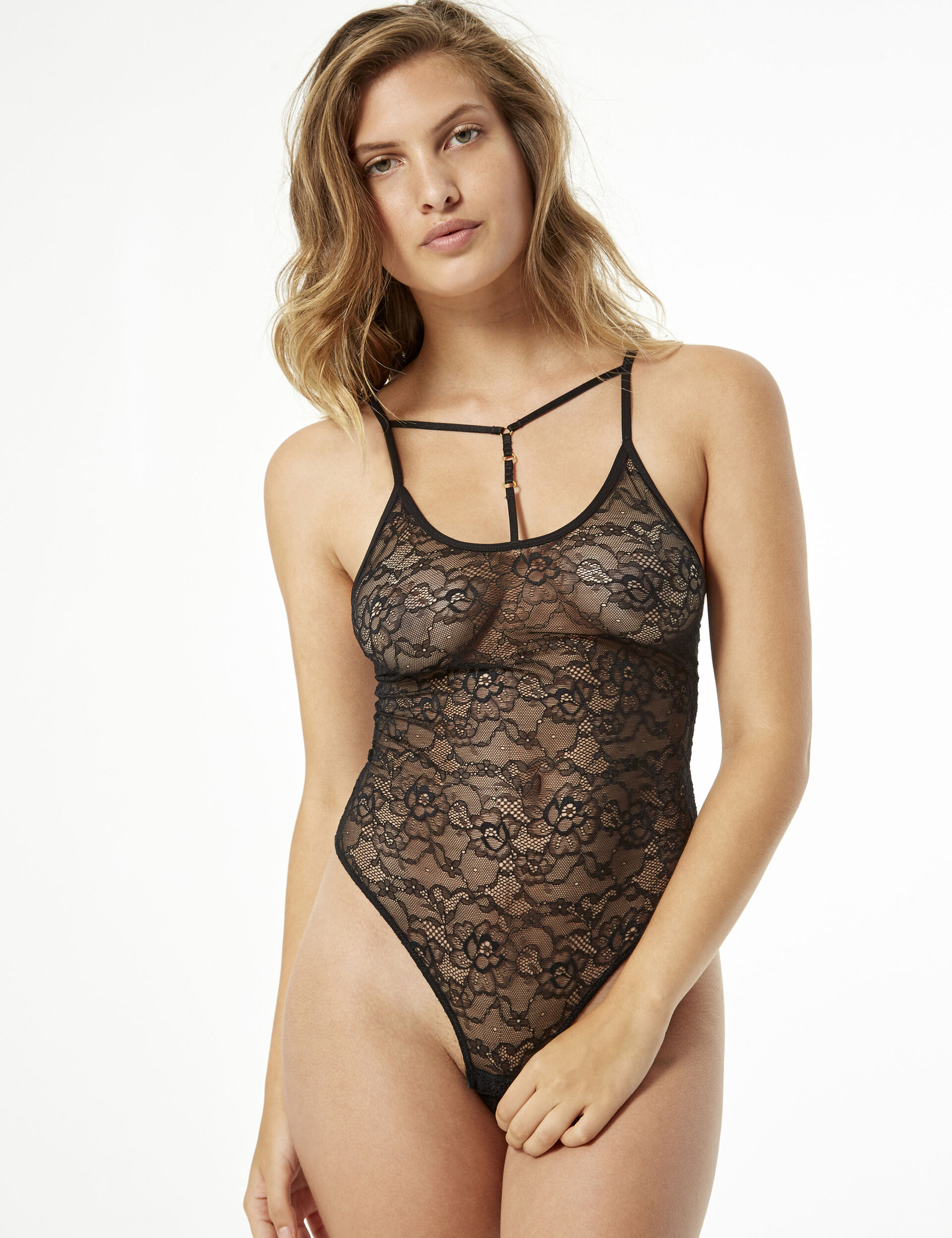 Lace bodysuit with strap detail