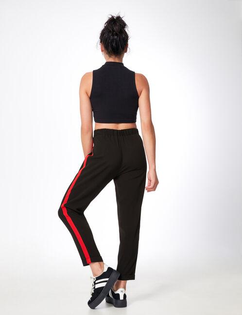 pantalon ville avec bandes noir et rouge