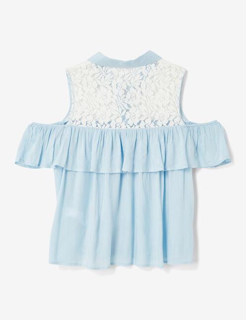 Light blue mixed fabric shirt