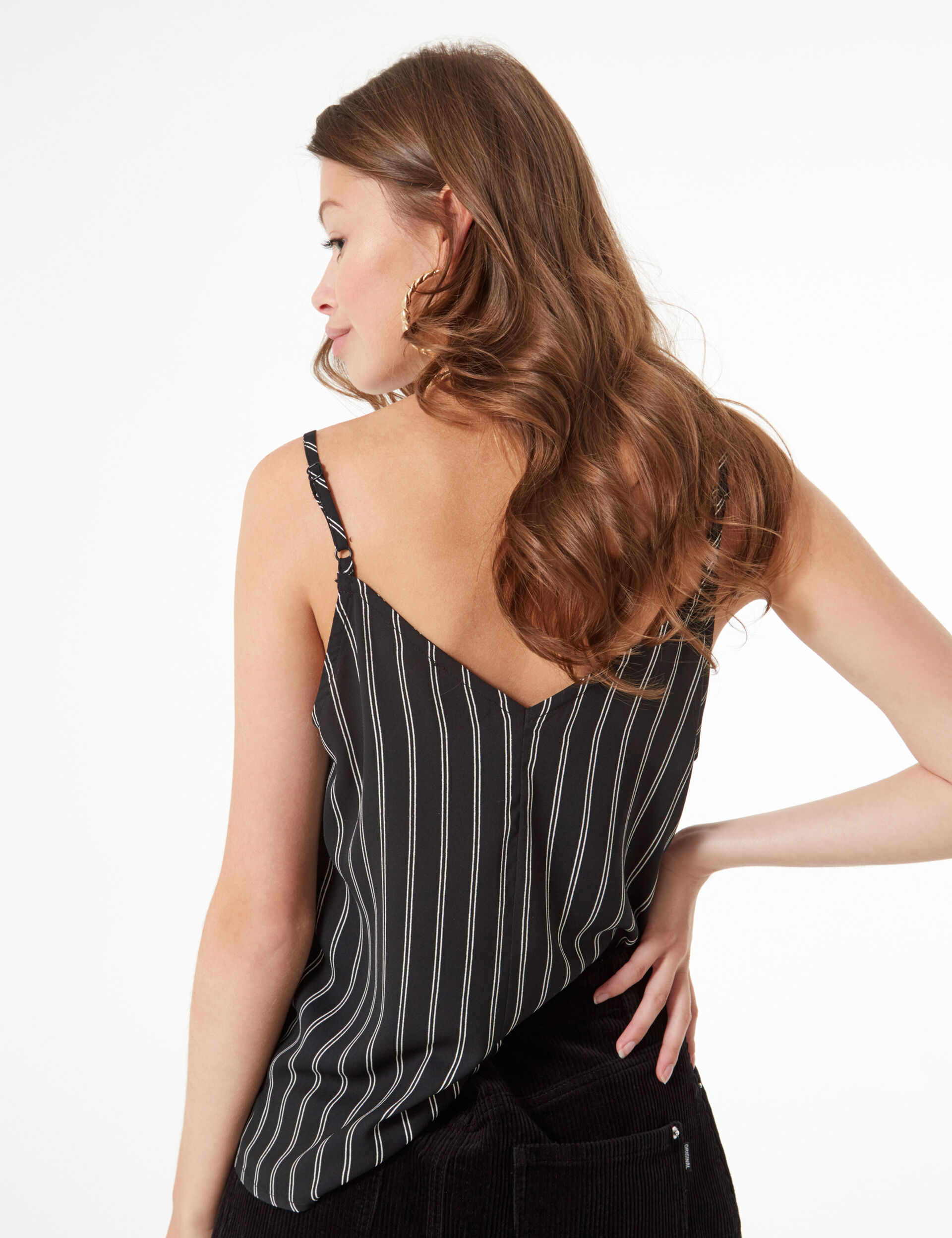 Striped and lacy camisole
